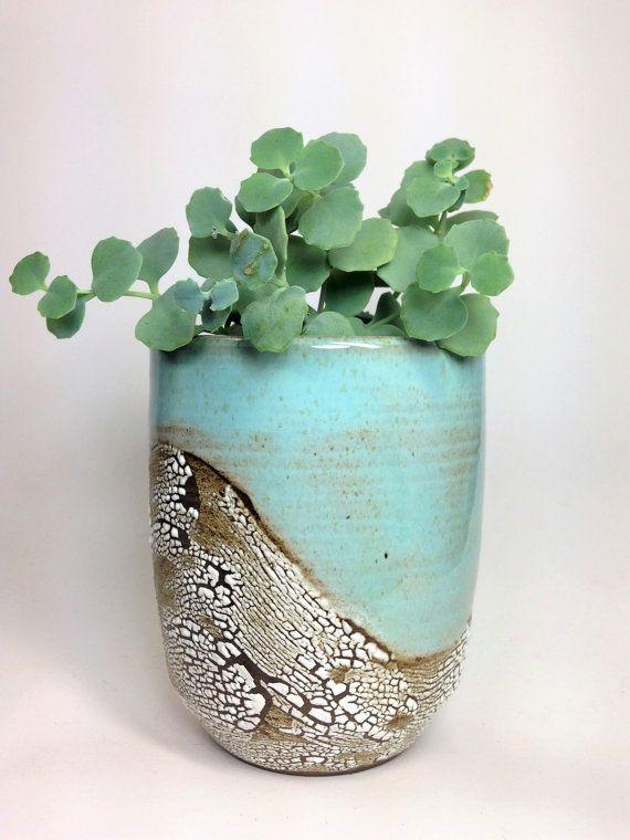 Succulent Planter Ceramic Flower Pot Pottery Planter Green Cactus Pot Stoneware Planter Rustic Pot Has Drainage Holes Made To Order Ceramic Flower Pots Flower Pots Stoneware Planter
