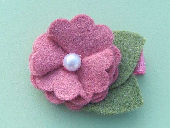 Custom Made Felt Flower. Can be made attached to an elastic headband or hair clip. $3.25