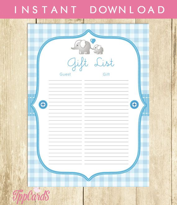 photograph about Free Printable Baby Shower Guest Sign in Sheet named Elephant Boy or girl Shower Reward Checklist, Blue Elephant Youngster Shower
