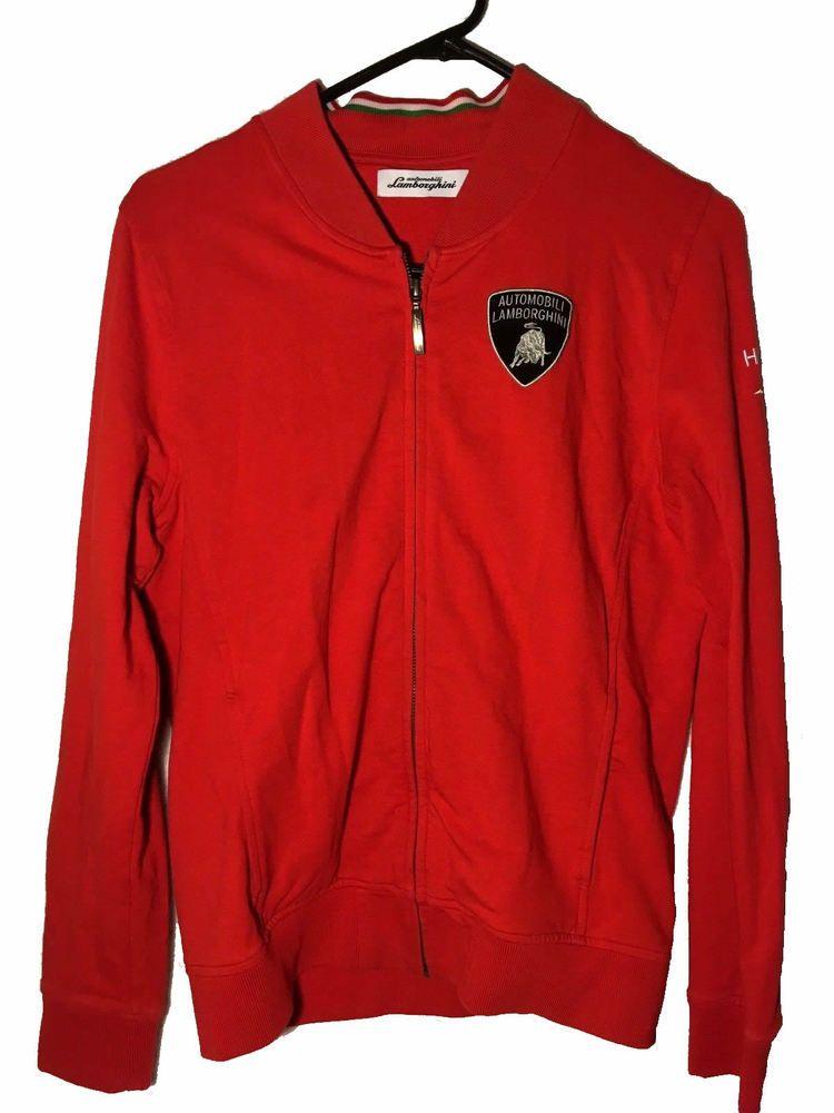 Automobili Lamborghini Unisex Red Full Zip Sweatshirt Medium