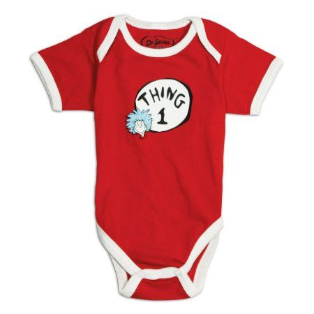 Bumkins Dr. Seuss Classic Short Sleeve Bodysuit, Thing 1, 3 months, Red