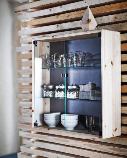 vitrine murale en pin massif avec portes en verre tremp ikea hf pinterest ikea ikea. Black Bedroom Furniture Sets. Home Design Ideas