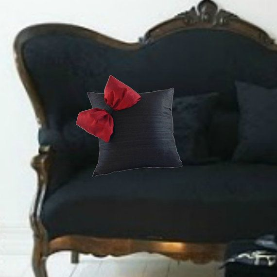 Black and Red SILK Pillow Cover with Bow Black Couch Pillow SILK