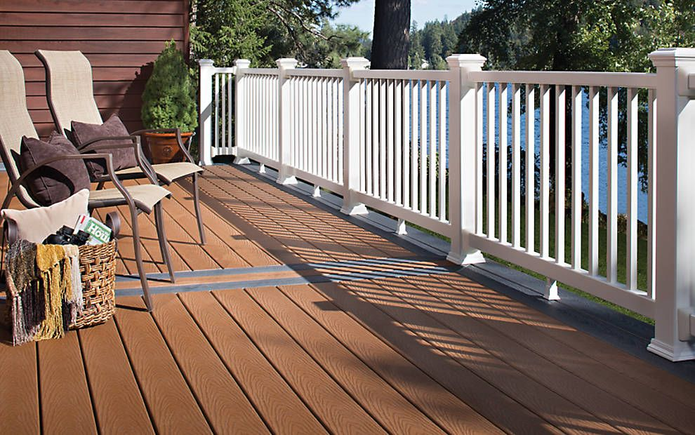 Trex Select decking in Saddle and Winchester Grey create a ...