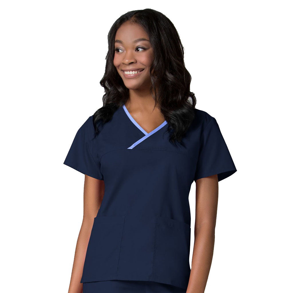 Maevn Contrast Mock Wrap Scrub Top 1026 | Maevn Uniforms | Navy Blue Dental Nurse  Uniform