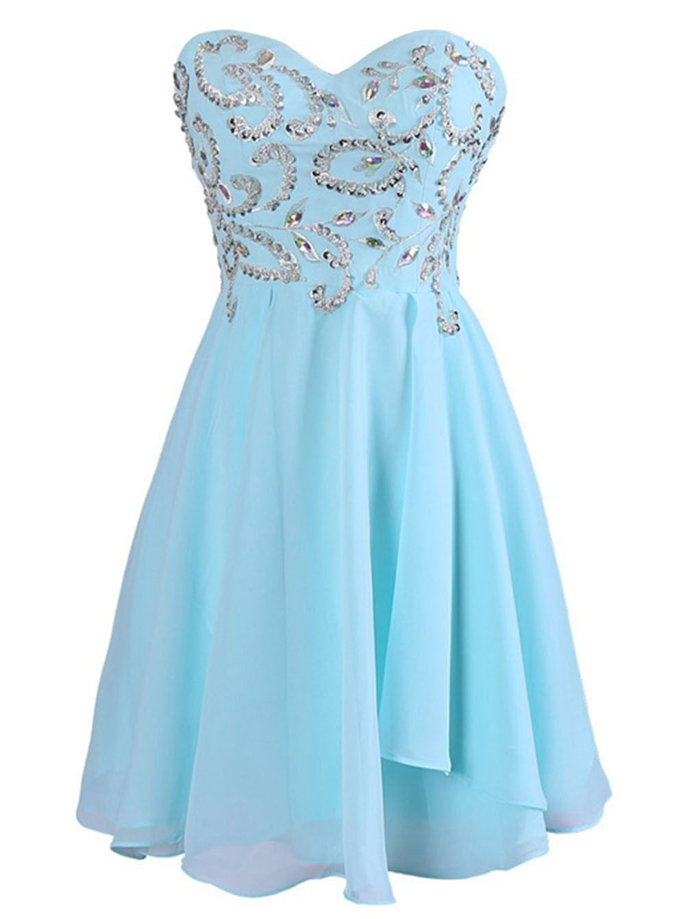 Exquisite sweetheart short chiffon blue homecoming dress with