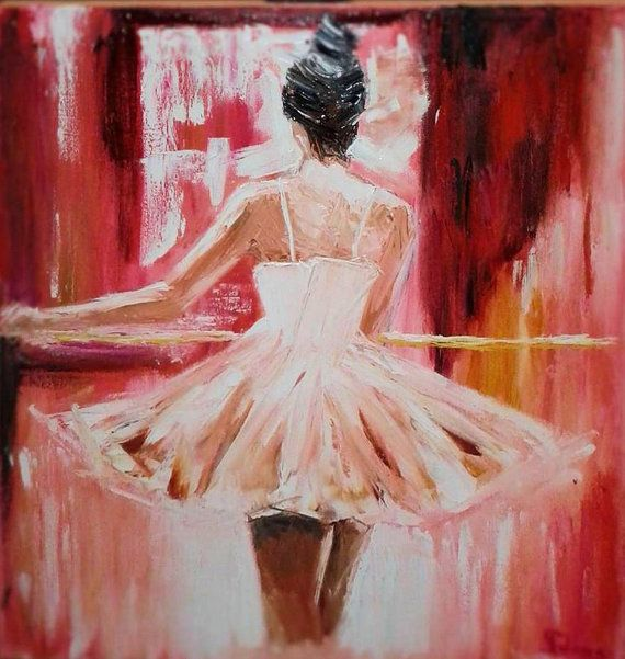 Ballerina gemalde ol leinwand originalkunst spachtel kunst for Bild ballerina