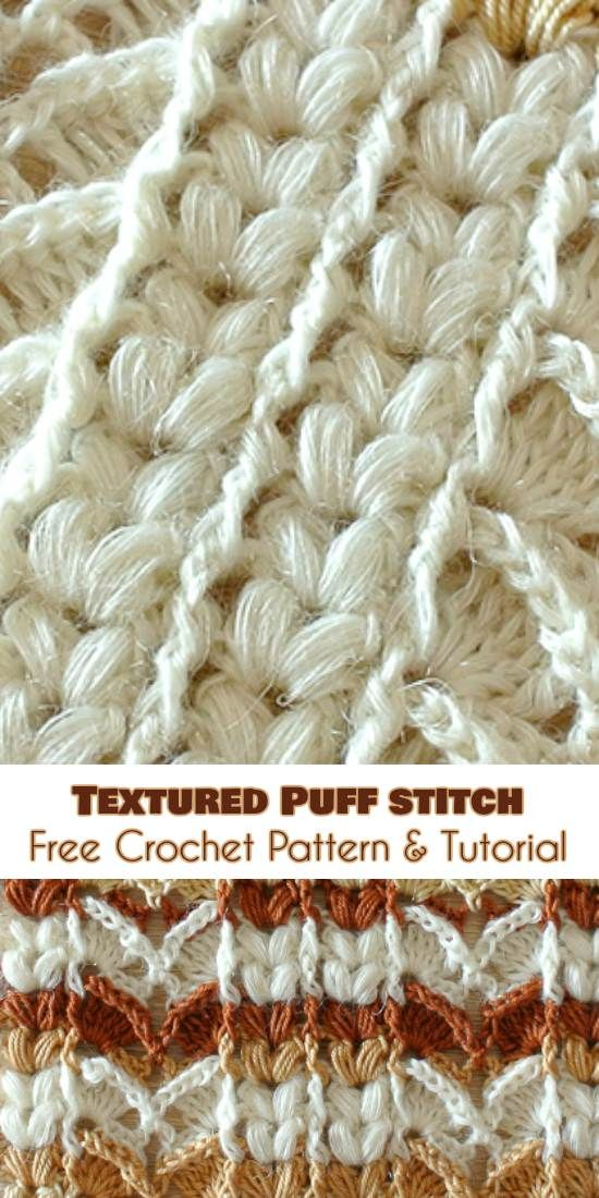 Textured Puff Stitch [Free Crochet Pattern and Tutorial] | Muster ...