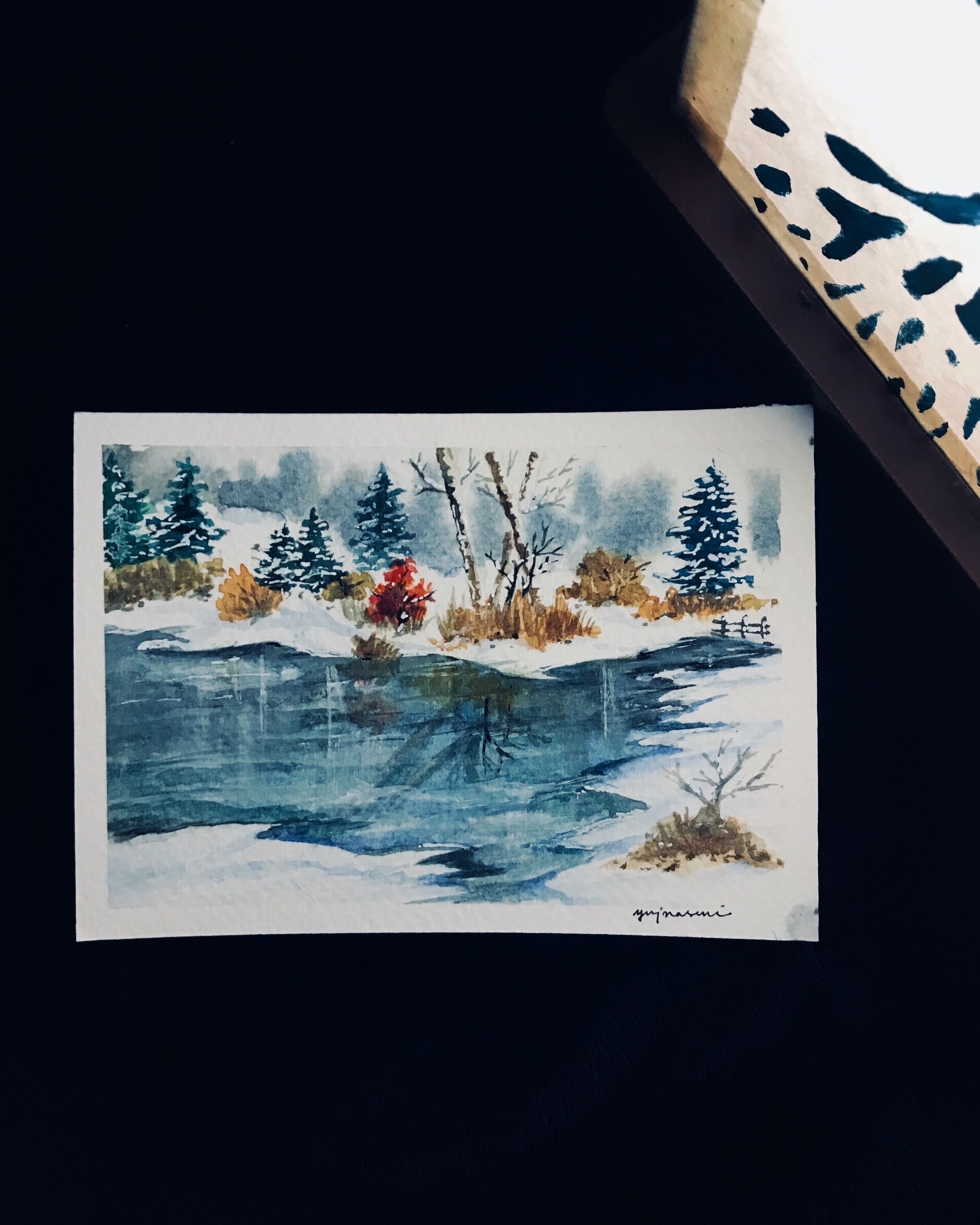 Frozen Lake Watercolor Painting Art