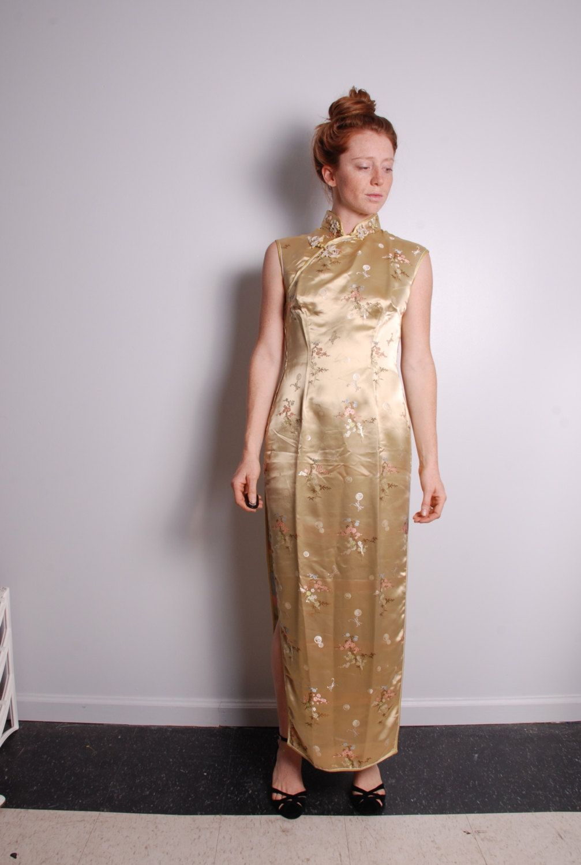 90s small gold bamboo cheongsam satin maxi cocktail dress womens ...