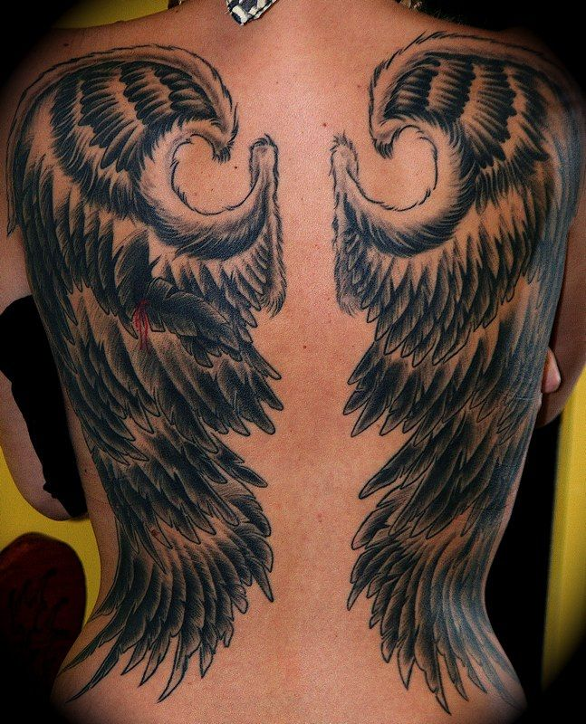 angel wings on woman s back tattoo by phil colvin of ink. Black Bedroom Furniture Sets. Home Design Ideas