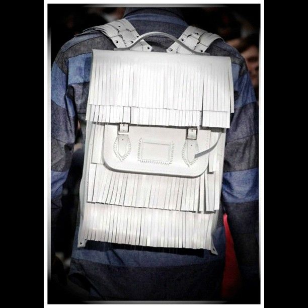 Christopher Shannon X Cambridge Satchel | #Dope white fringe #Rucksack | This is #Crazy | #Backpack #Bag #Fashion #Different #Simple #ChristopherShannon #Cambridge Satchel #ELYTE #SOCIETY #EVOLVE #KNOWLEDGE #EXECUTE #FASHION #BEAUTY #SHOPPING #LUXURY