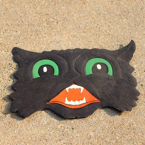 Halloween Decoration Black Cat 1940s HE by SentimentalFavorites