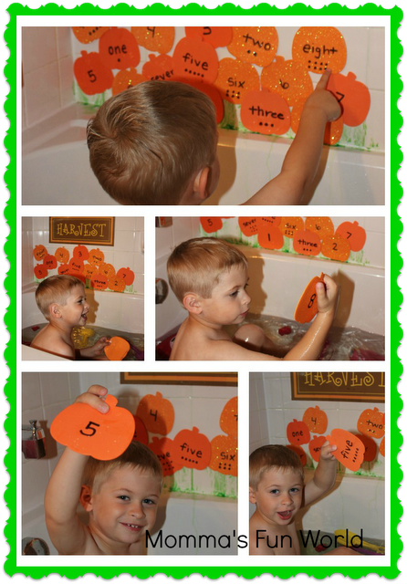 Momma\'s Fun World: Pumpkin patch number/word learning bath - could ...