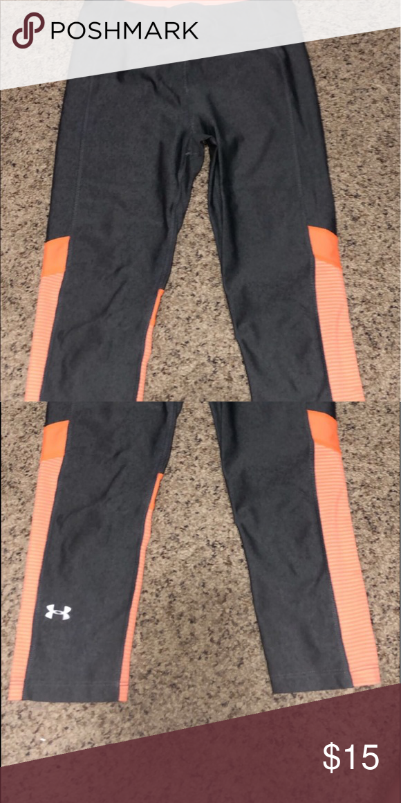 609d140cac6d Under armour 3 4 legging Gray and orange under armour leggings. Super  comfortable and