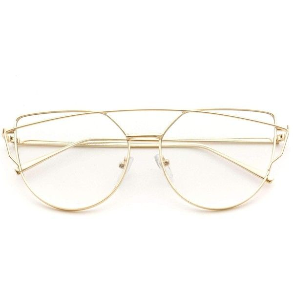 00a7a29e6d Charlette double wire thin metal frame cat eye cute eyeglasses ( 35) ❤  liked on