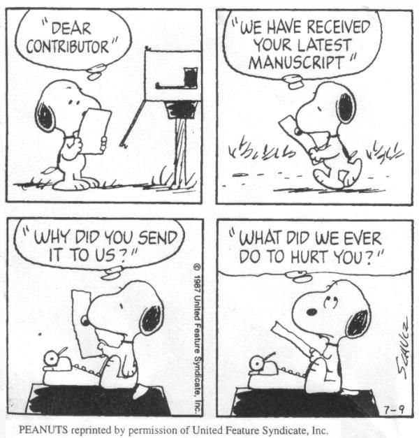 Snoopy\u0027s publishing rejection letter Comics old and new - rejection letter sample