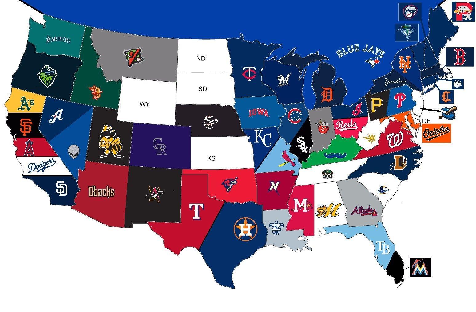 Mapa Interesante De Mlb Us De Los Equipos De Npb Mapas Cool Us Mapa De Las Ubicaciones De Los Equipos De Mlb Mapa Con L Espn Baseball Tigers Baseball Mlb Teams