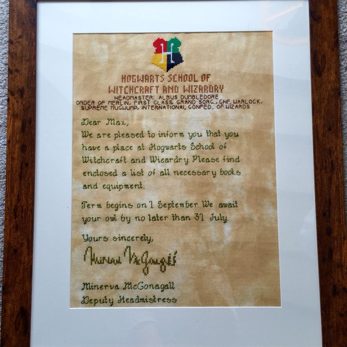 Hogwarts Acceptance Letter Cross Stitch Designed And Stitched By