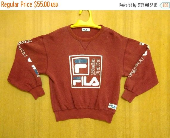 CHRISTMAS 25% Vintage FILA Sweatshirt / Sweater / Jumper / Pullover Big Logo Spell Out Hip Hop Large Size Red Maroon by ArenaVintage