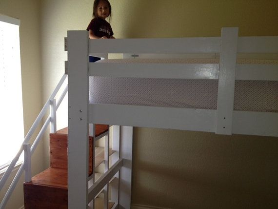 Lofted Bed With Storage Cube Stairs By F2furniture On Etsy Bed Loft Bed Bed Storage