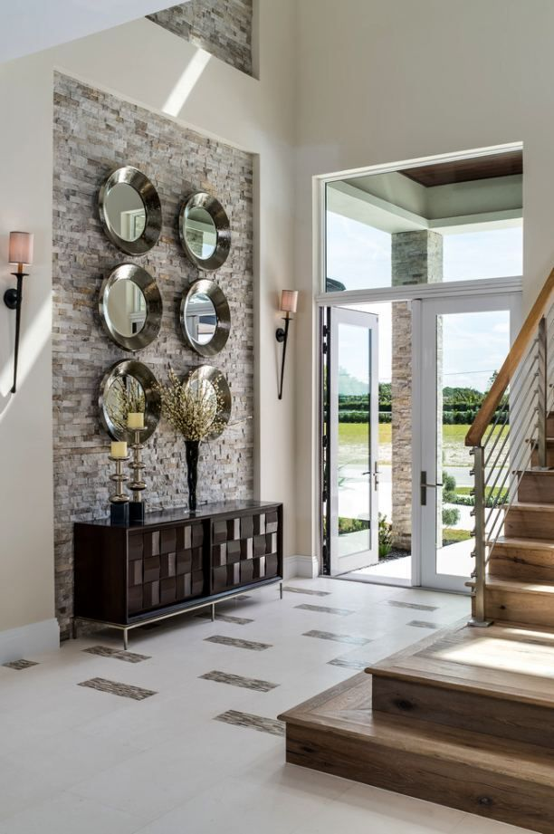 double height wall decoration 1 round mirror wall decor on ideas for decorating entryway contemporary wall mirrors id=90288