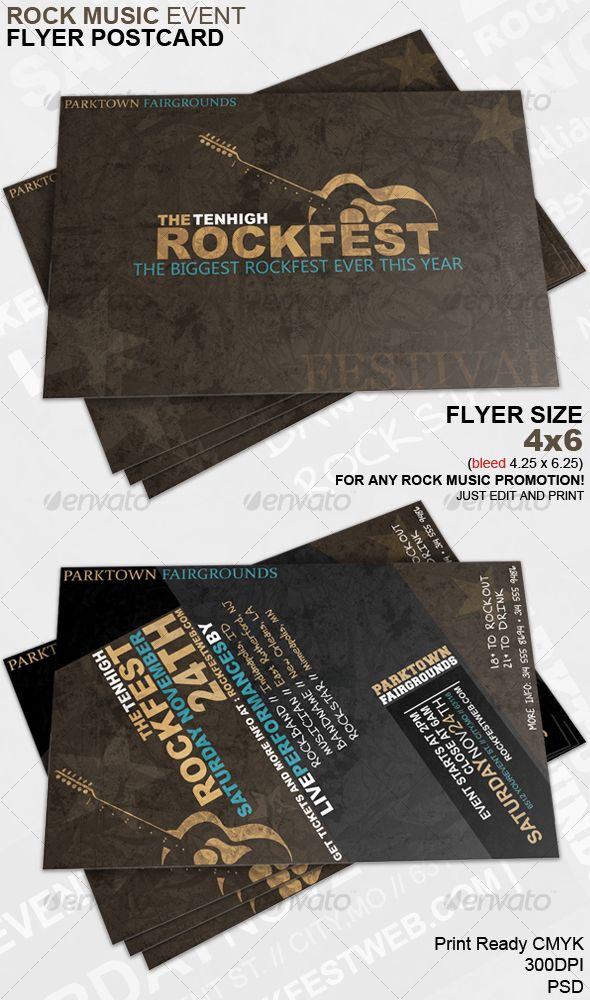 Rock Music Event Flyer Postcard | Event flyers, Creative flyers and ...
