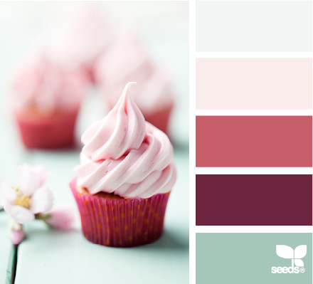 sweet tones palette. loving this colour combination. a great neutral, with some pastels and a dark pop of colour