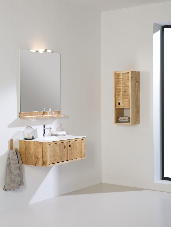 Een robuust en stoer badkamermeubel. De combinatie van het bewerkte ...