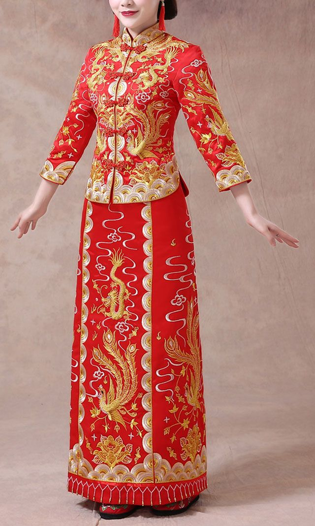 017a6768f Gua Qun Chinese Wedding Dress Gold Silver Embroidery Bridal Gown ...