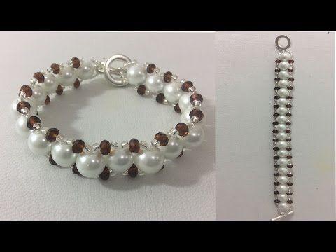 bfea68288377 Como hacer pulseras. Pulsera con perlas. Como hacer pulseras con chaquira y  perlas - YouTube