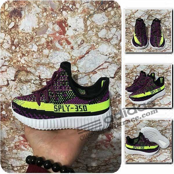 Adidas Yeezy Boost 350 V2 Classique Chaussure Enfant Violet/Noir/Vert :aditrace