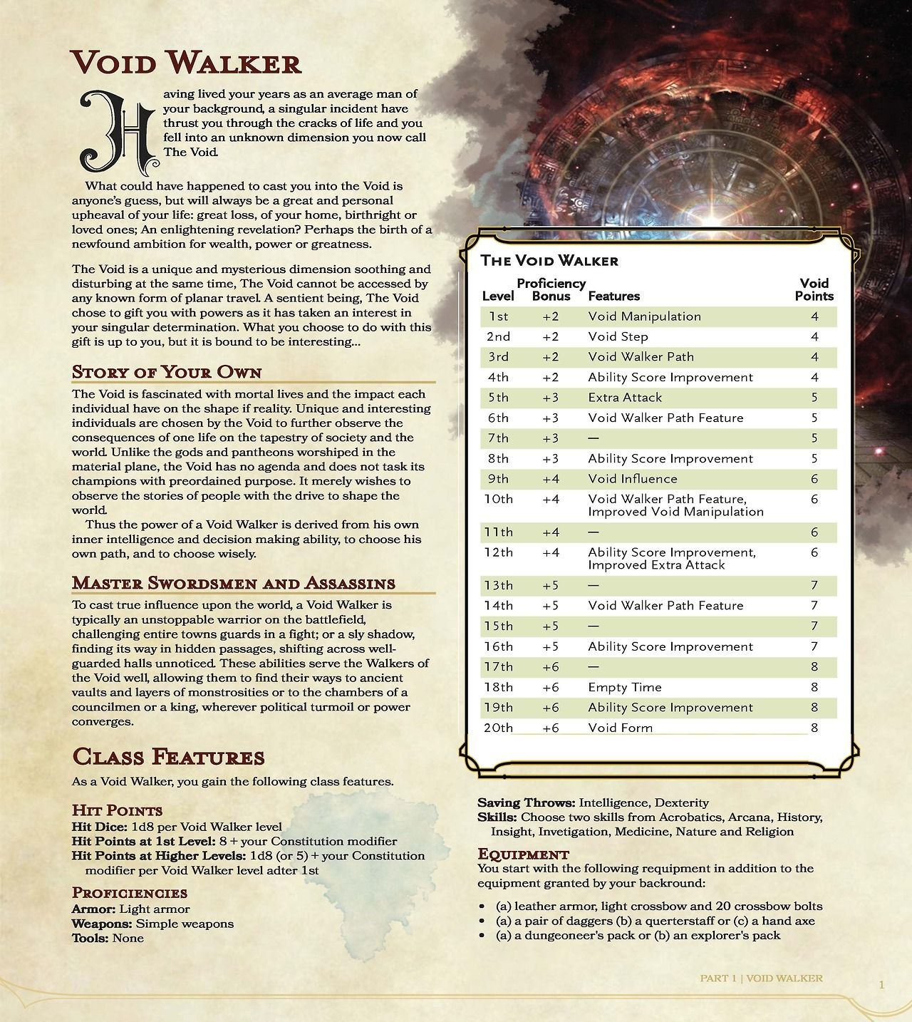 Void Walker Class (inspired by Dishonored) | homebrew rpg in