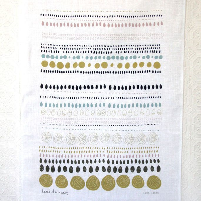 Image of Dots Linen Tea Towel