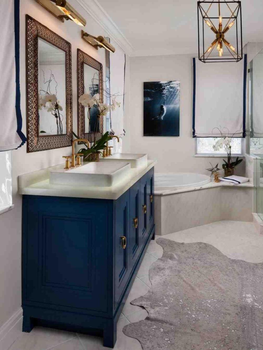 Black White And Blue Bathroom Bathroom Inspiration Decor