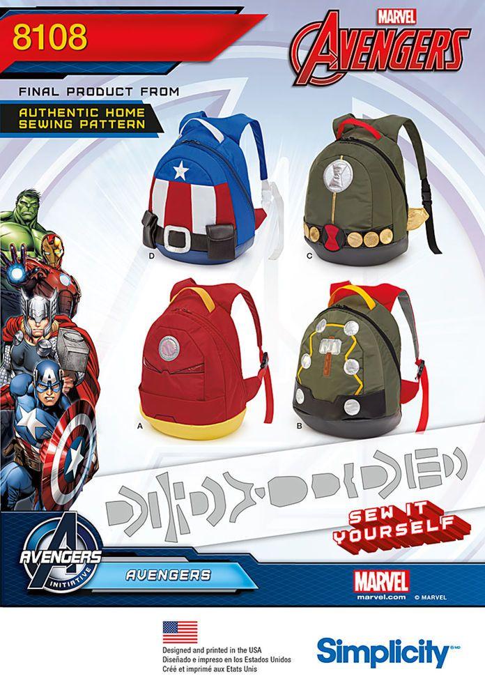 Simplicity 8108 - Avengers Assemble Backpacks