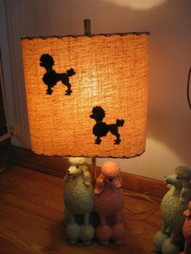 nice vintage condition 12 x 12 Vintage mid century 1960s chalkware poodle lamp