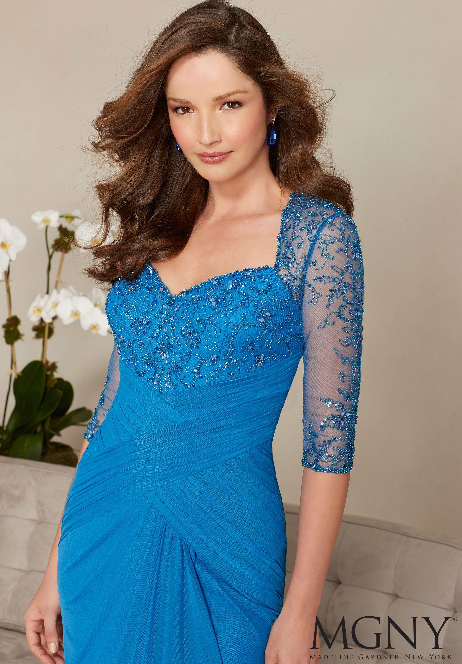 a1d4425d939 Beading on Stretch Mesh Evening Dress