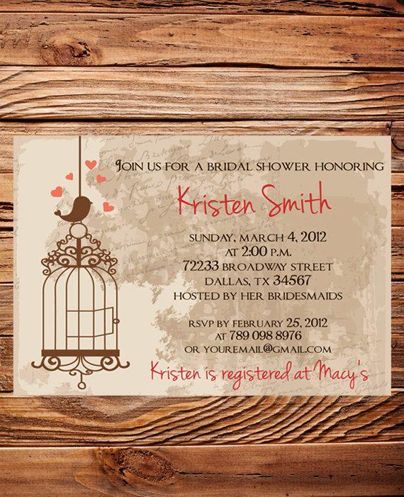 Vintage Bridal Shower Invitation,Vintage Postcard Bird Bridal Shower  Invitation, Wedding Shower, Digital, Wedding Shower Banner (6084) On Etsy,  $21.00