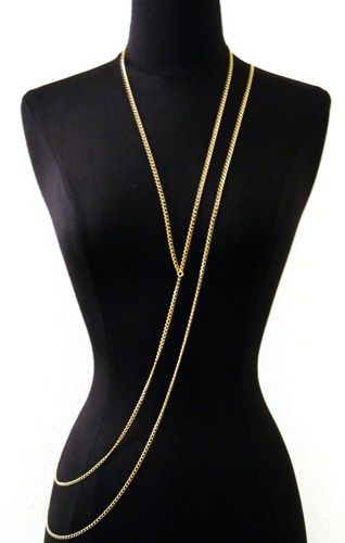 Simple Thin Gold Body Chest Chain long Asymmetrical FREE SHIPPING