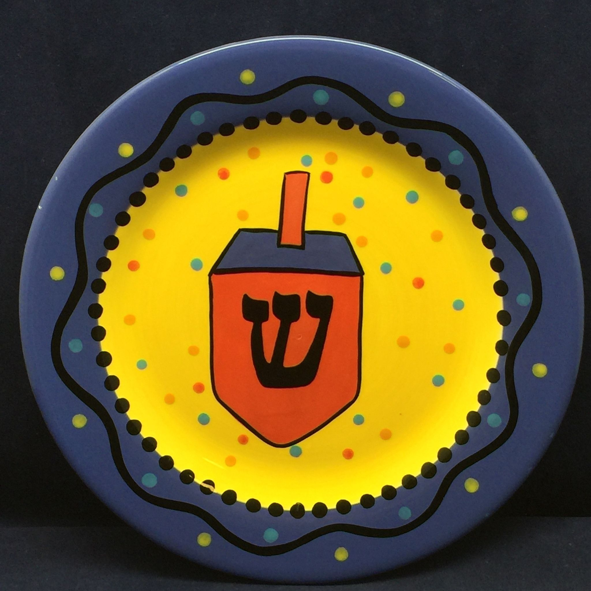 Chris Bubany Festival of Lights Dinner Plate Dreidel Hanukkah Blue SHIN Hebrew Yellow & Chris Bubany Festival of Lights Dinner Plate Dreidel Hanukkah Blue ...