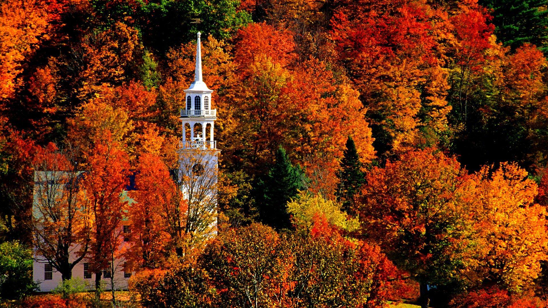 Church In Peak Fall Color Strafford 1920x1080 Full Hd Wallpaper Vermont Fall New England Fall Fall Foliage