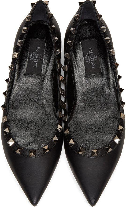 Valentino - Black  Rockstud Noir  Ballerina Flats  6cccdda93392