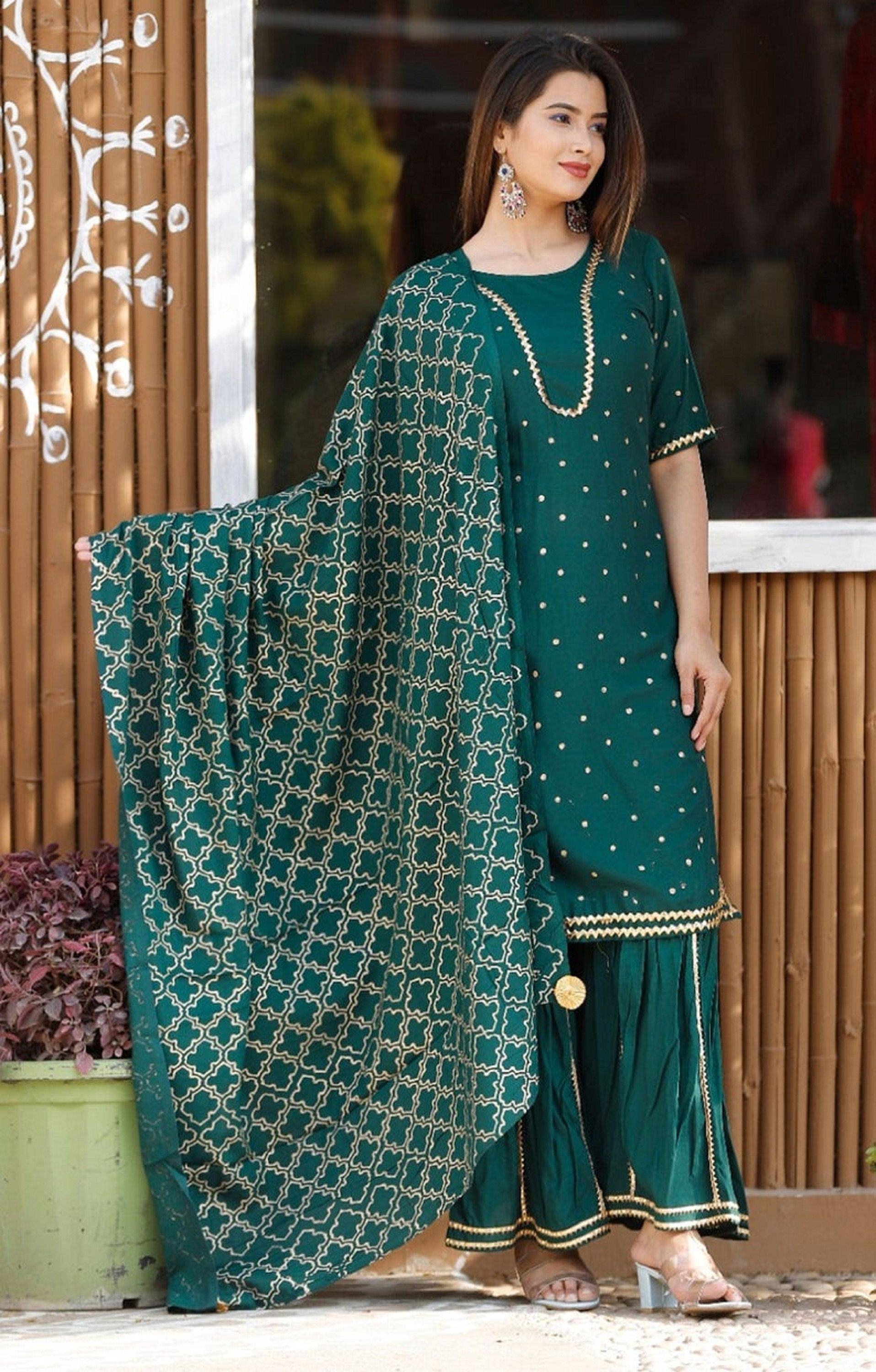 Indian Bollywood Wedding Special Embroidery Designer Rayon Blue Kurta /& Sharara Set Special For Women And Girls. Express Shipping