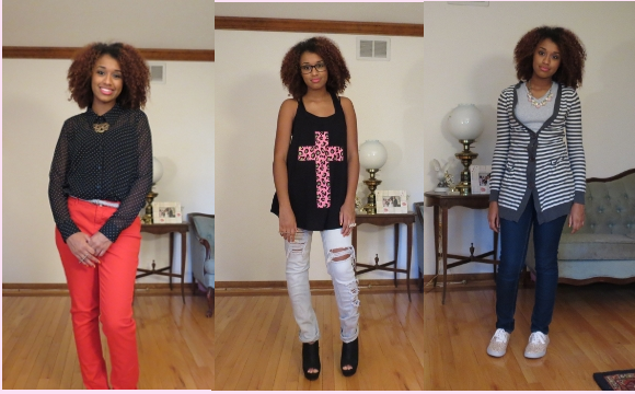 three back to school outfits (fashion, style, clothing, back to school, trends)