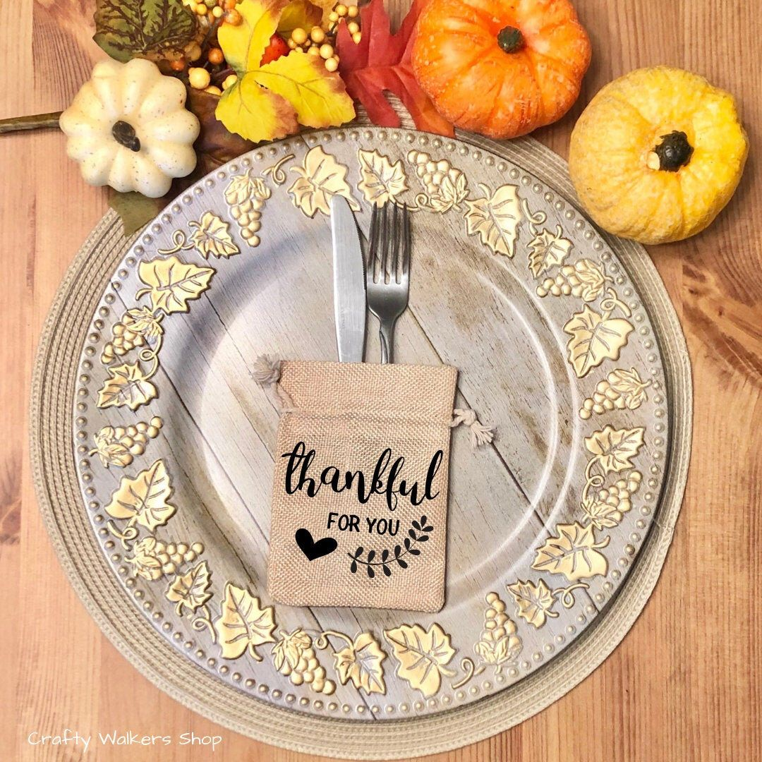 Thanksgiving Dinner Decor, Personalized Thanksgiving Decor, Thanksgiving Favor Bag, Thanksgiving Dinner, Thanksgiving Table Decor, Party #thanksgivingdinnertable