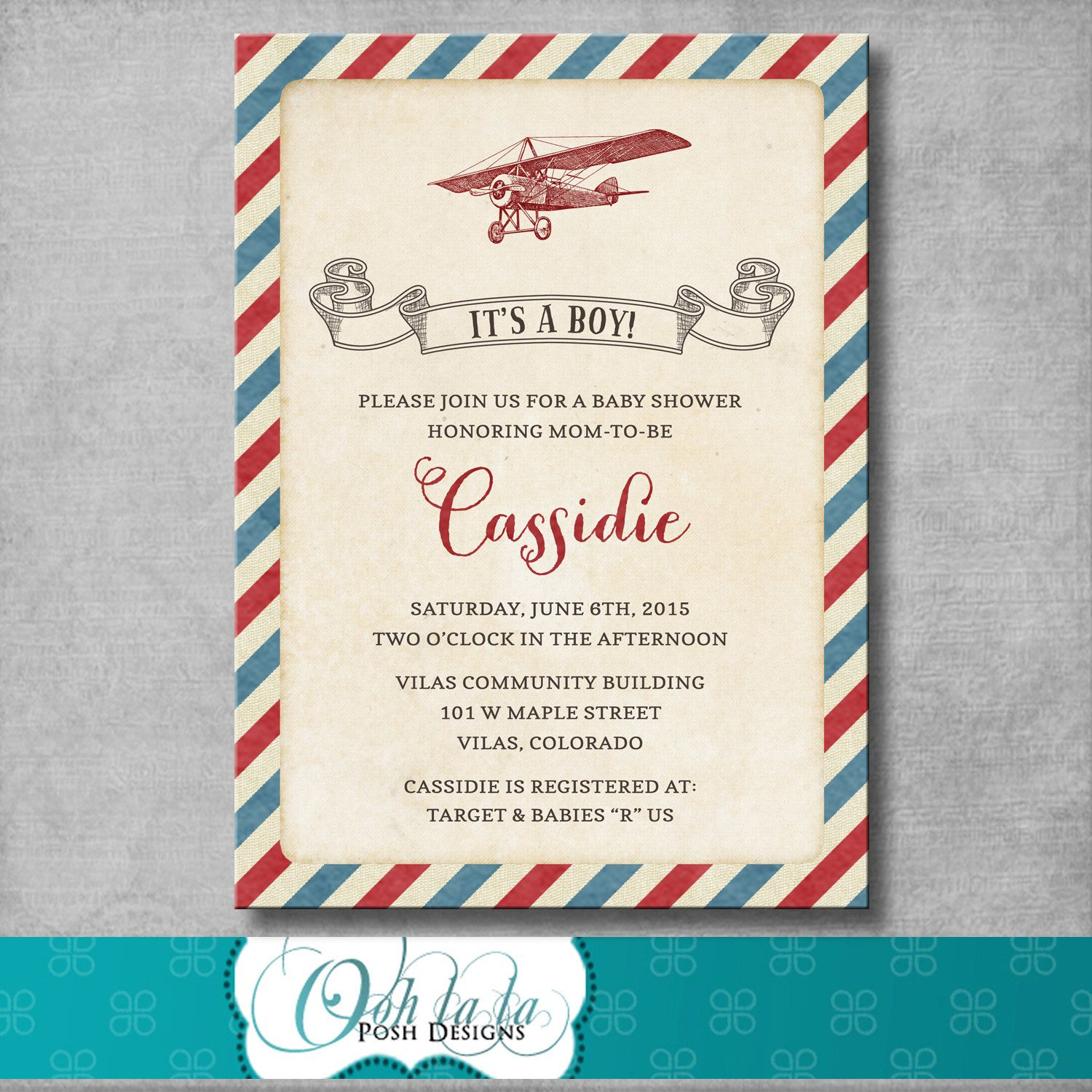 It\'s a Boy - Vintage Airplane Baby Shower Invitation - Retro - Baby ...