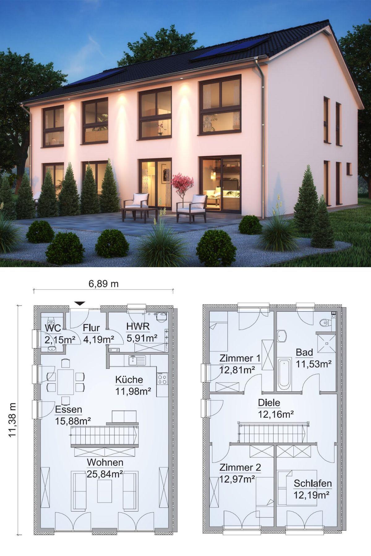 Doppelhaus SH 127 S DHH mit Satteldach ScanHaus Marlow