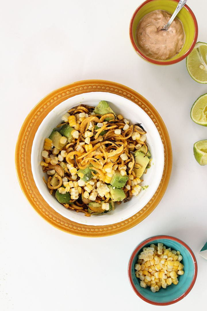 Plantain Noodles With Avocado Corn And Chipotle Greek Yogurt