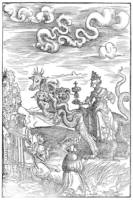 Durer inspired woodcut- image of Whore of Babalon.